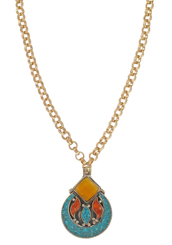 Amber and Turquoise Ethnic Pendant Necklace
