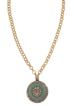 Jade and White Brass Ethnic Medallion Necklace