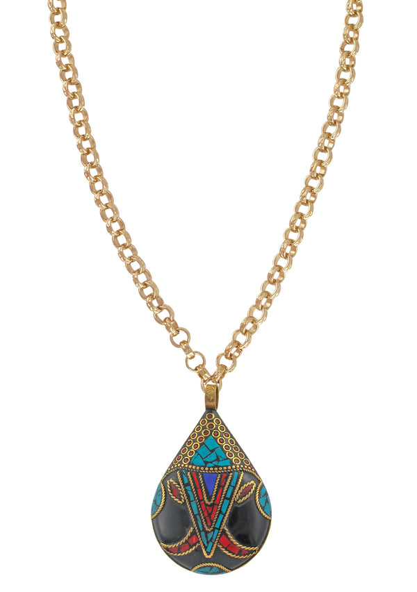 Turquoise and Coral Ethnic Black Pendant Necklace
