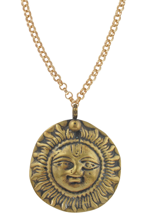 Large Ethnic Brass Medallion Necklace