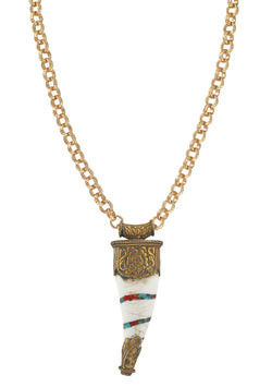 Turquoise and Coral Ethnic Horn Pendant Necklace