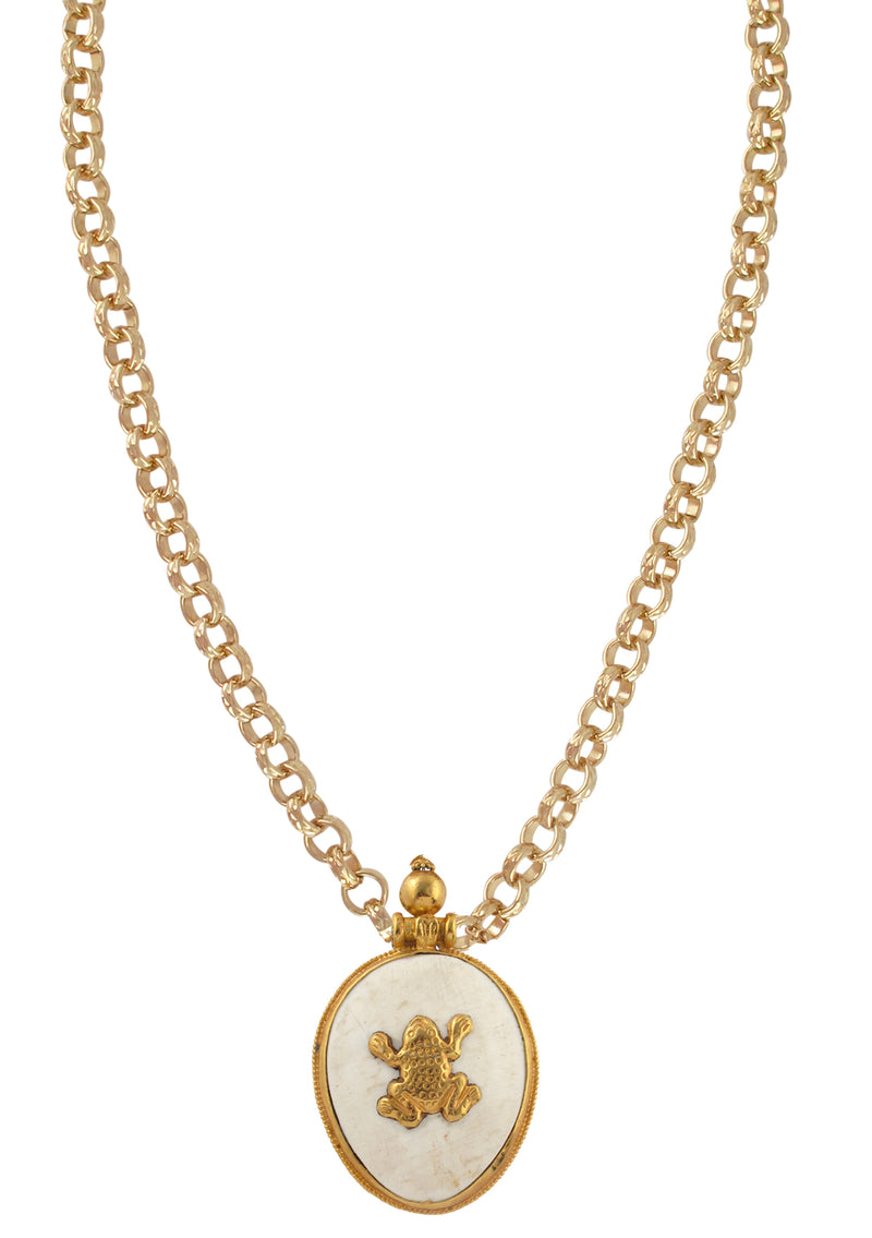 Gold and White Shell Ethnic Pendant Necklace