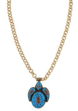 Turquoise and Coral Ethnic Pendant Necklace