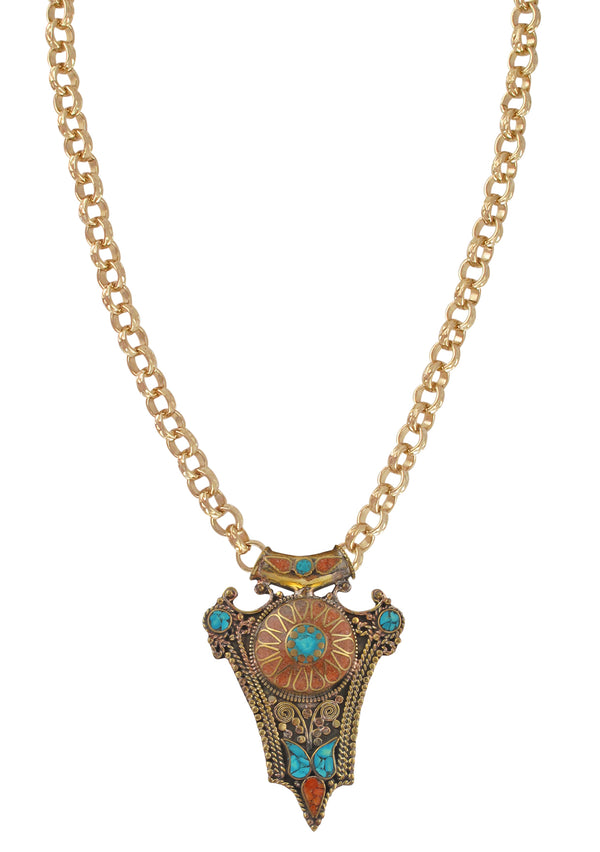 Coral and Turquoise Ethnic Pendant Necklace