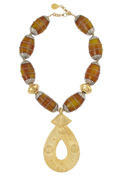 Ethnic Amber and Gold Pendant Necklace