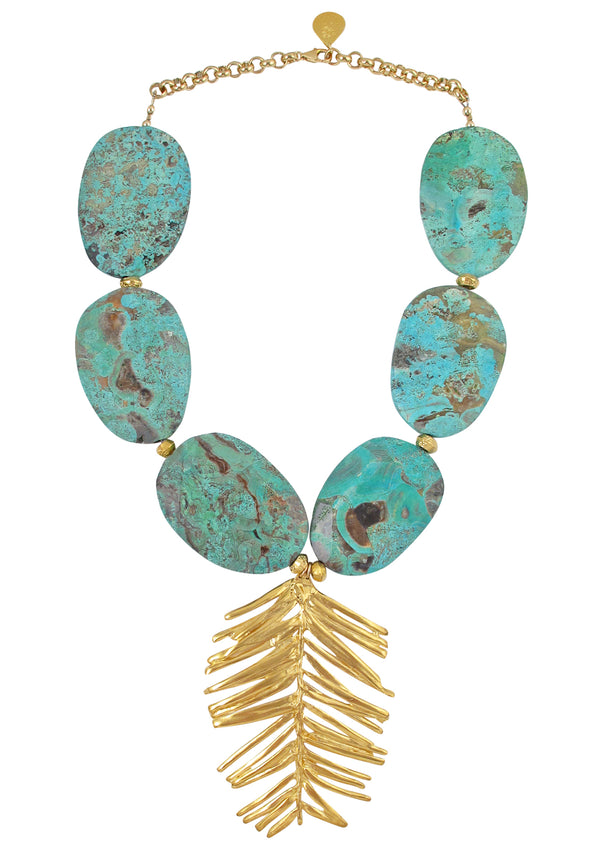 Chrysocolla Gold Leaf Pendant Necklace