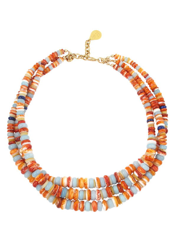 Orange Oyster Shell Multi Strand Necklace