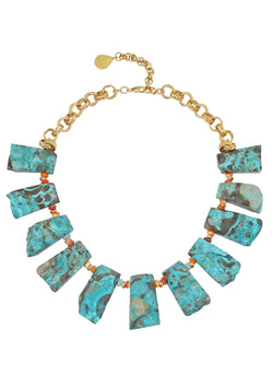 Chrysocolla Coral Gold Necklace