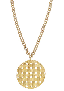 Large Textured Gold Pendant Necklace