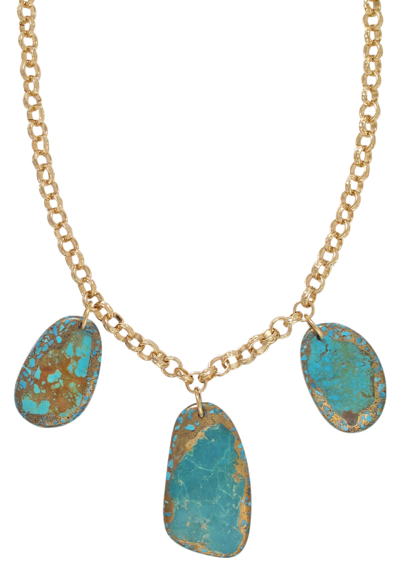 Copper Infused Turquoise Triple Pendant Necklace