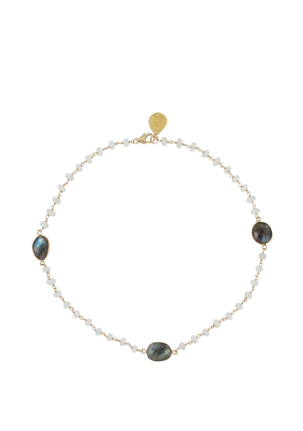 Moonstone Labradorite Bezel Necklace