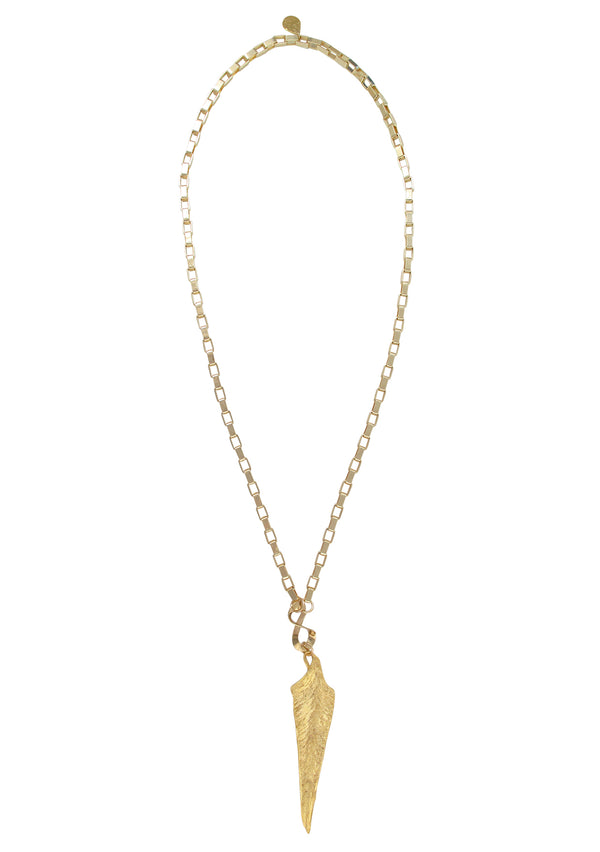 Long Gold Leaf Pendant Necklace