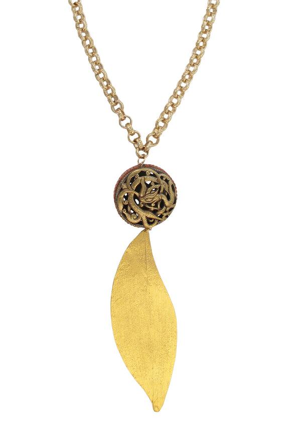 Ethnic Medallion Gold Leaf Pendant Necklace