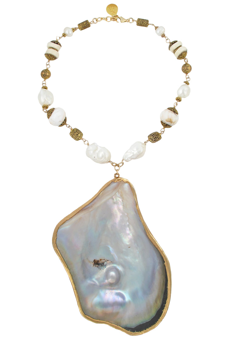 One of a Kind Oversized Oyster Shell Pendant Necklace