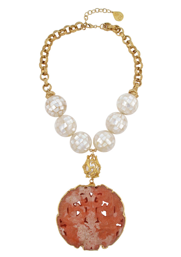 White Mosaic Pearl Pink Jade Pendant Necklace