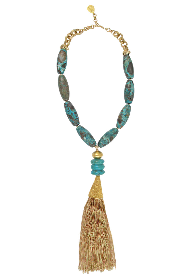 Chrysocolla Turquoise Gold Tassel Necklace