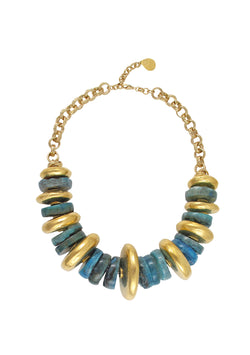 Blue Agate Gold Slab Necklace
