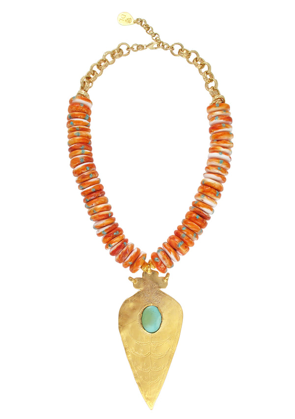 Orange Oyster Shell Turquoise and Gold Pendant Necklace