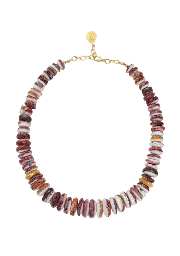 Purple Oyster Shell Gold Accent Necklace