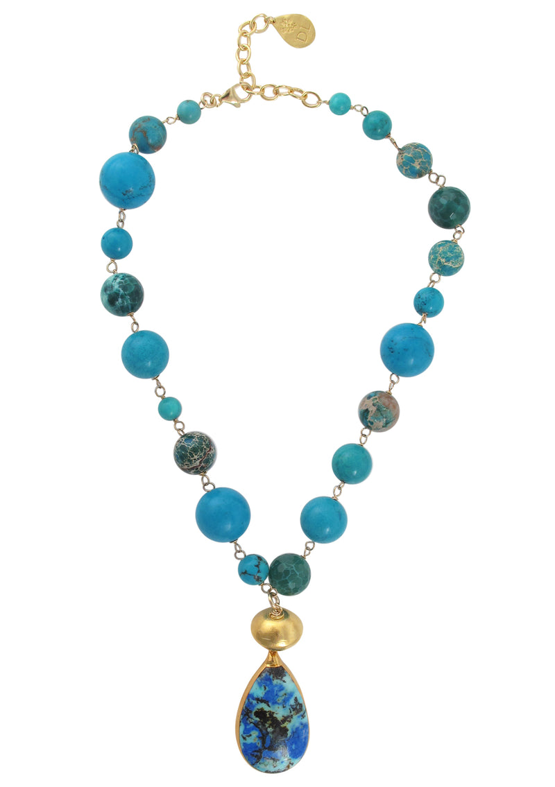 Turquoise Chrysocolla Azurite in Gold Foil Pendant Necklace