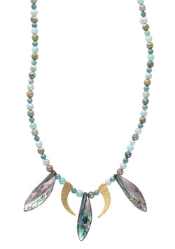 Iridescent Agate Abalone Gold Pendant Necklace