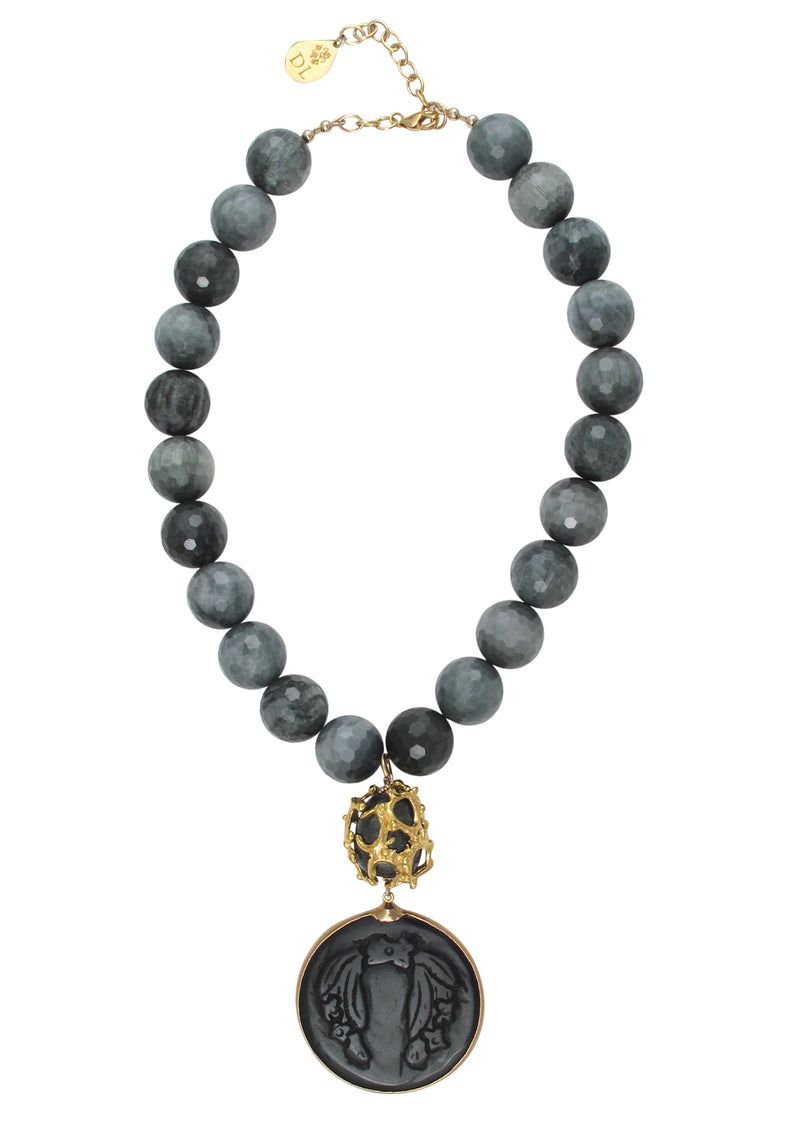Eagle's Eye Caged Pearl Black Onyx Pendant Necklace
