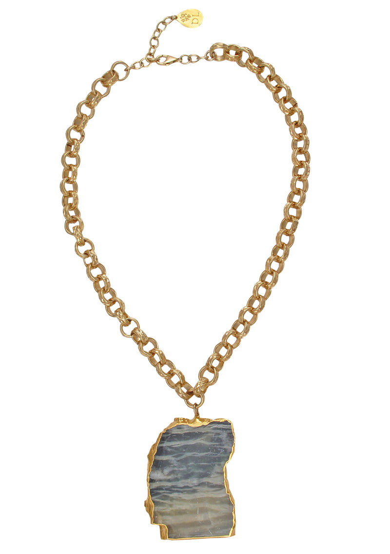 Free Form Arizona Pietersite in Gold Foil Pendant Necklace