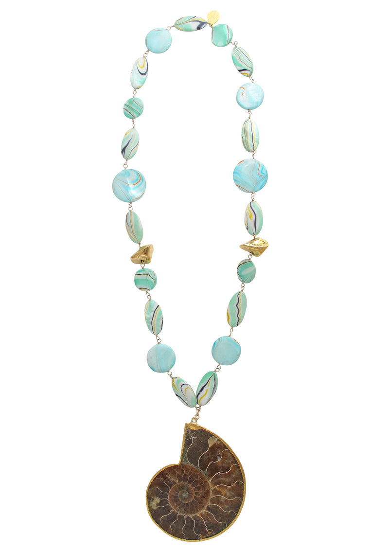 One of a Kind Aqua Shell and Ammonite Pendant Necklace