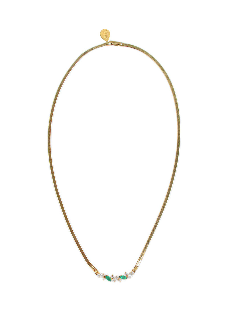 Clear and Green Diamond Illusion Gold Mesh Necklace