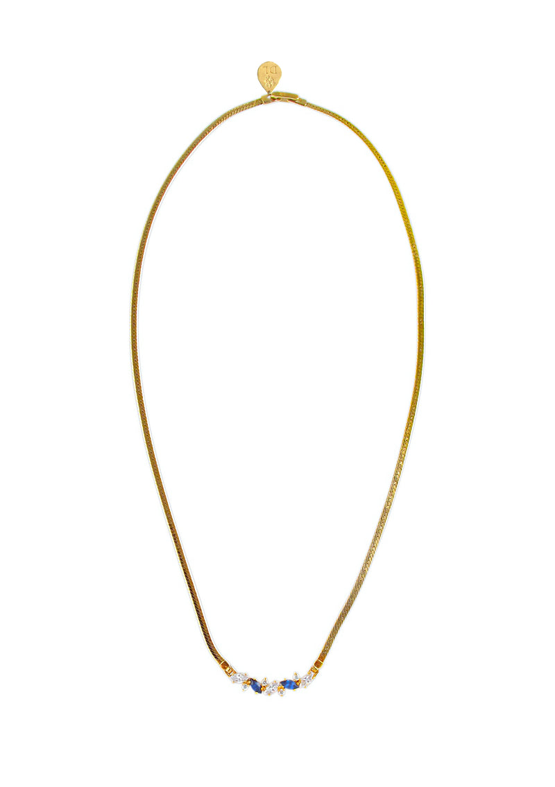 Clear and Blue Diamond Illusion Gold Mesh Necklace