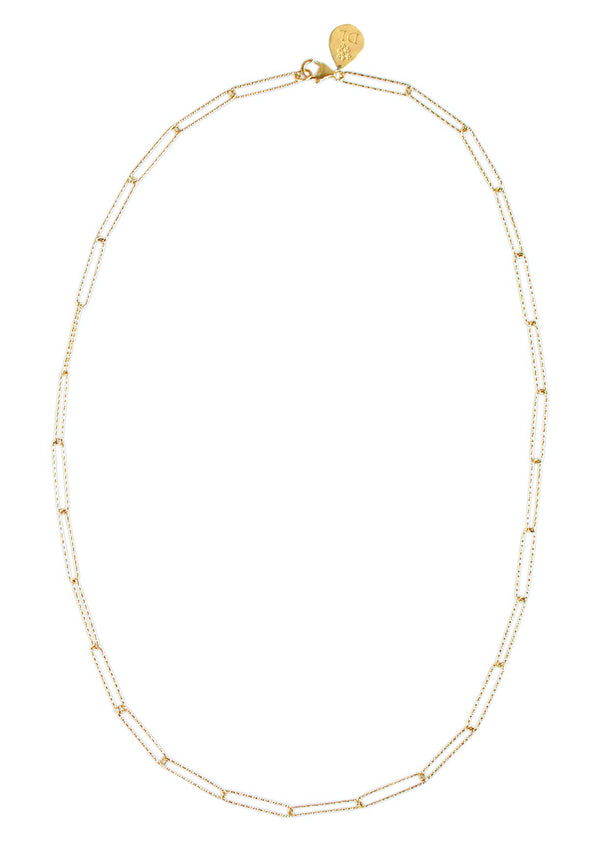 Long Textured Gold Link Chain Necklace