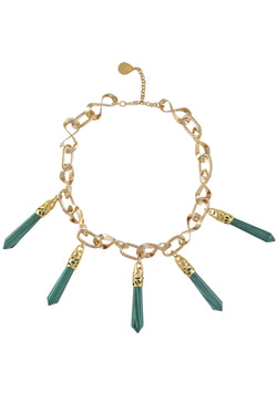 Malachite Pendant Gold Infinity Chain Necklace