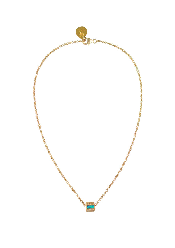 Blue Opal Diamond Illusion Gold Barrel Necklace