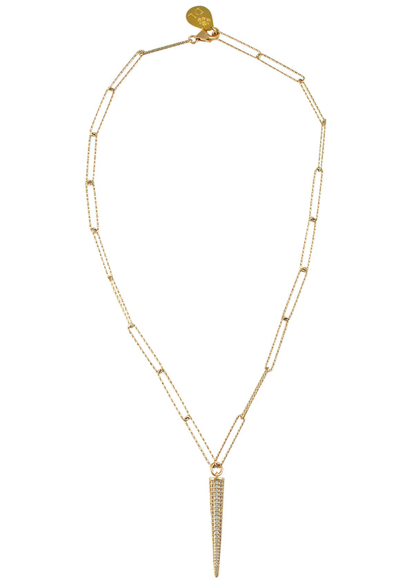 Diamond Illusion Pendant Sparkle Gold Link Chain