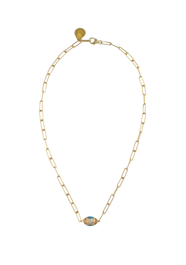 Blue Opal Diamond Illusion Gold Pendant Necklace