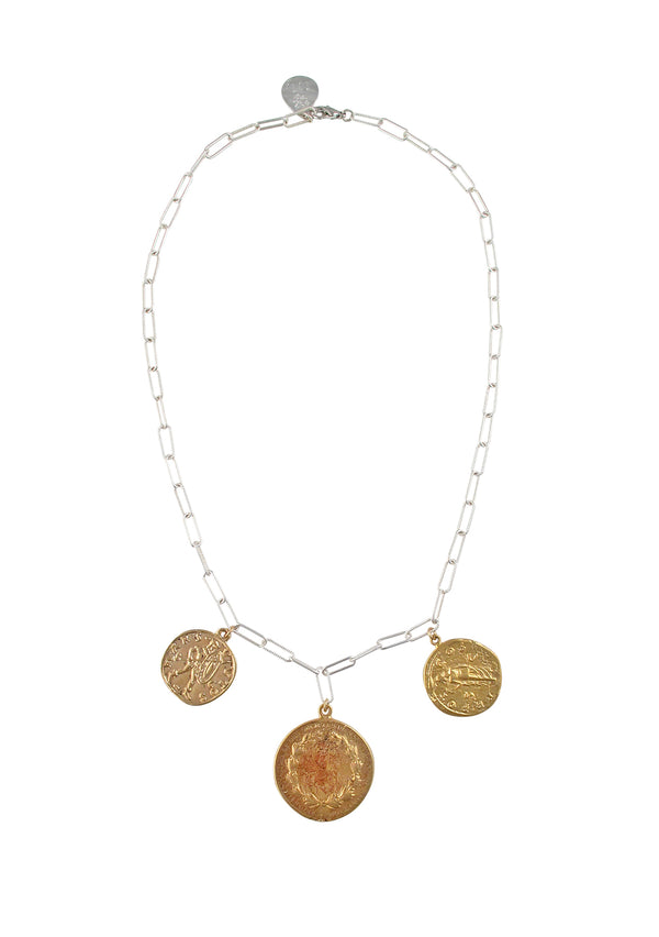 Triple Gold Coin Silver Link Chain Necklace