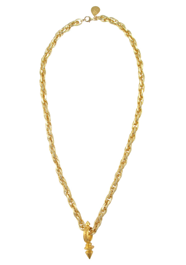 Gold Pendant Multi Link Chain Necklace