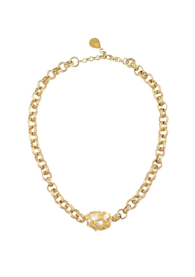 Caged Pearl Gold Necklace