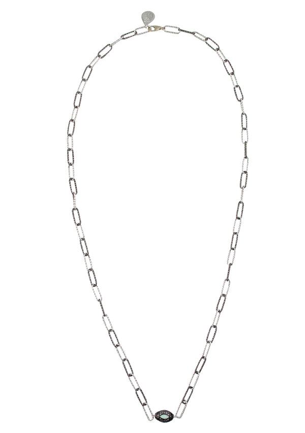 Moonstone Diamond Illusion Barrel Two-Tone Sterling Silver Chain Necklace
