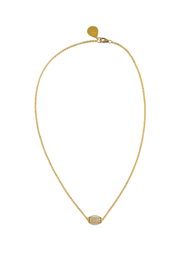 Moonstone Diamond Illusion Gold Necklace