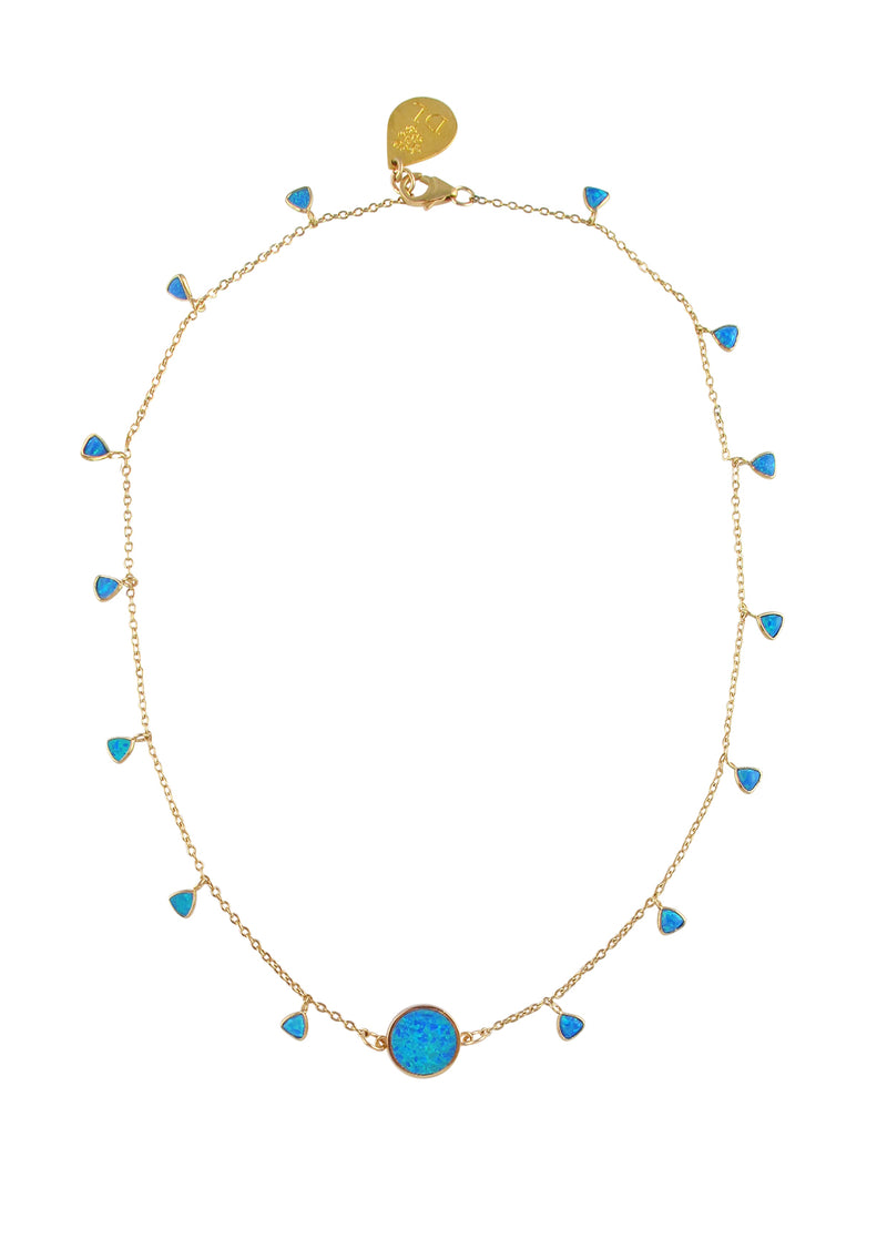 Blue Opal in Gold Foil Charm Necklace