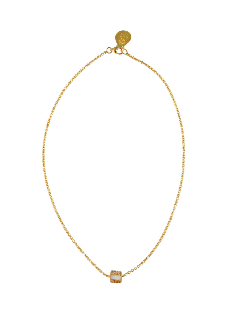 Diamond Illusion Moonstone Gold Barrel Necklace