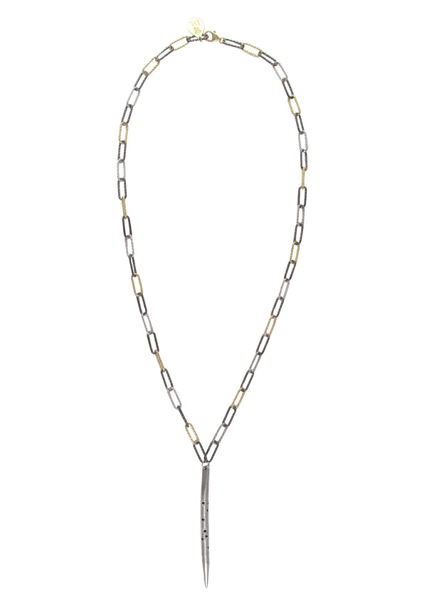Rhodium Hematite Spike Tri-Tone Italian Chain Necklace