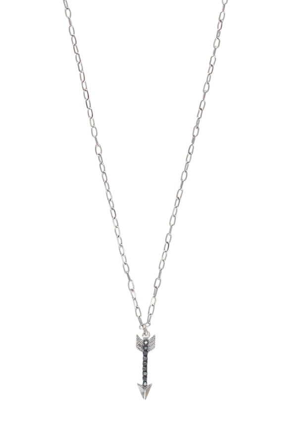 Rhodium Hematite Crystal Arrow Pendant Necklace