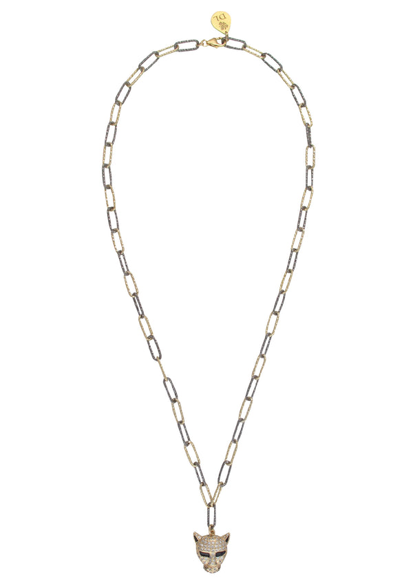 Diamond Illusion Jaguar Pendant Two-Tone Chain Necklace