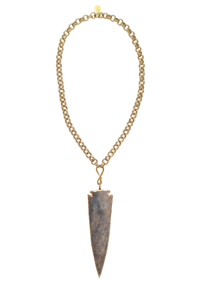One of a Kind Jasper Arrowhead Pendant Necklace