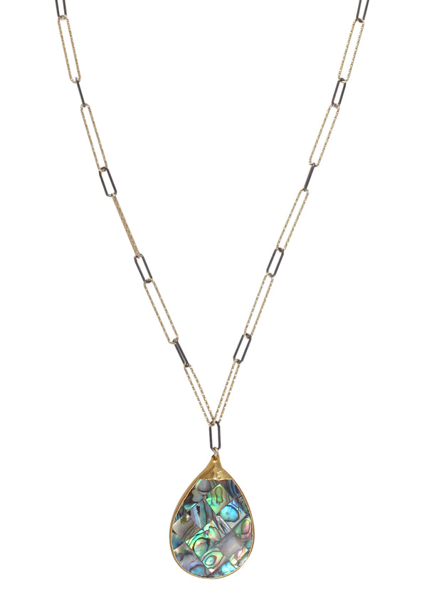 Abalone in Gold Foil Pendant Two-Tone Chain Necklace