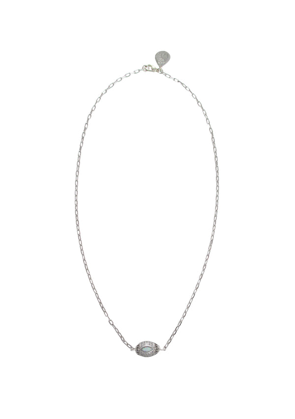 Moonstone Diamond Illusion Rhodium Barrel Necklace