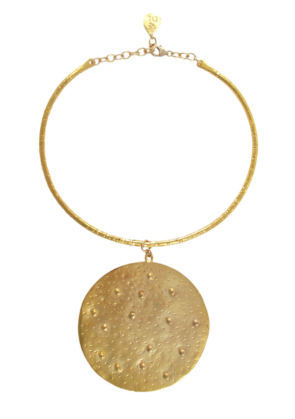 One of a Kind Gold Hammered Medallion Bar Necklace
