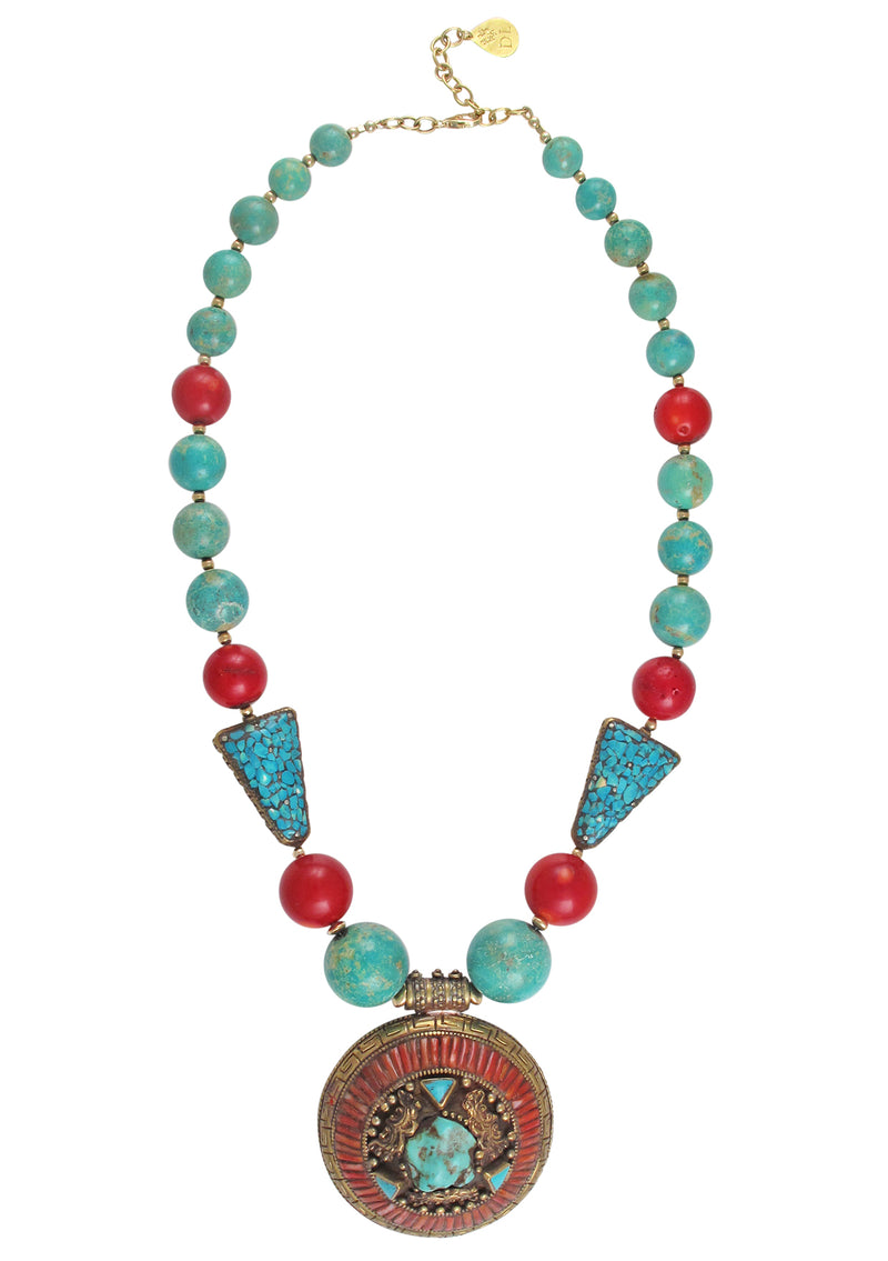One of a Kind Turquoise Coral Ethnic Pendant Necklace